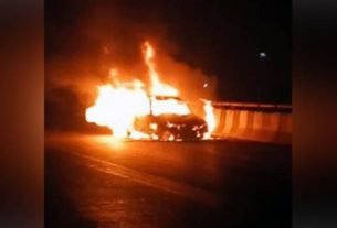 car became fireball running on gannaur sonipat flyover